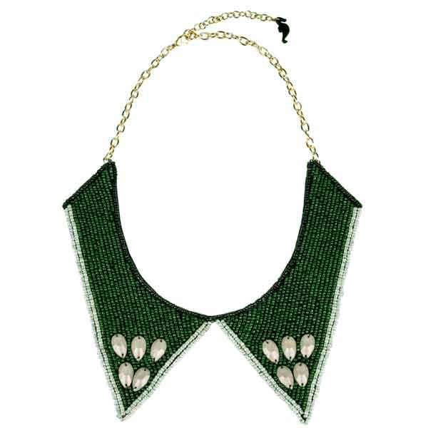 купить Зеленое ожерелье-колье из бисера с камнями колье-воротник картинка