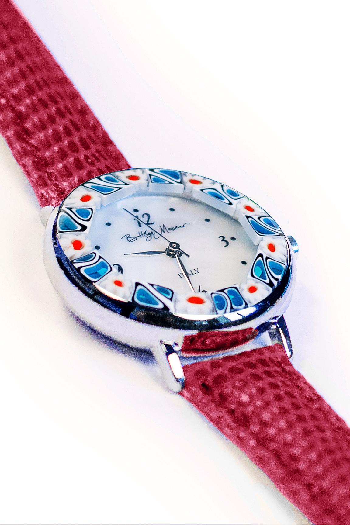 Часы из муранского стекла наручные темно-красные
