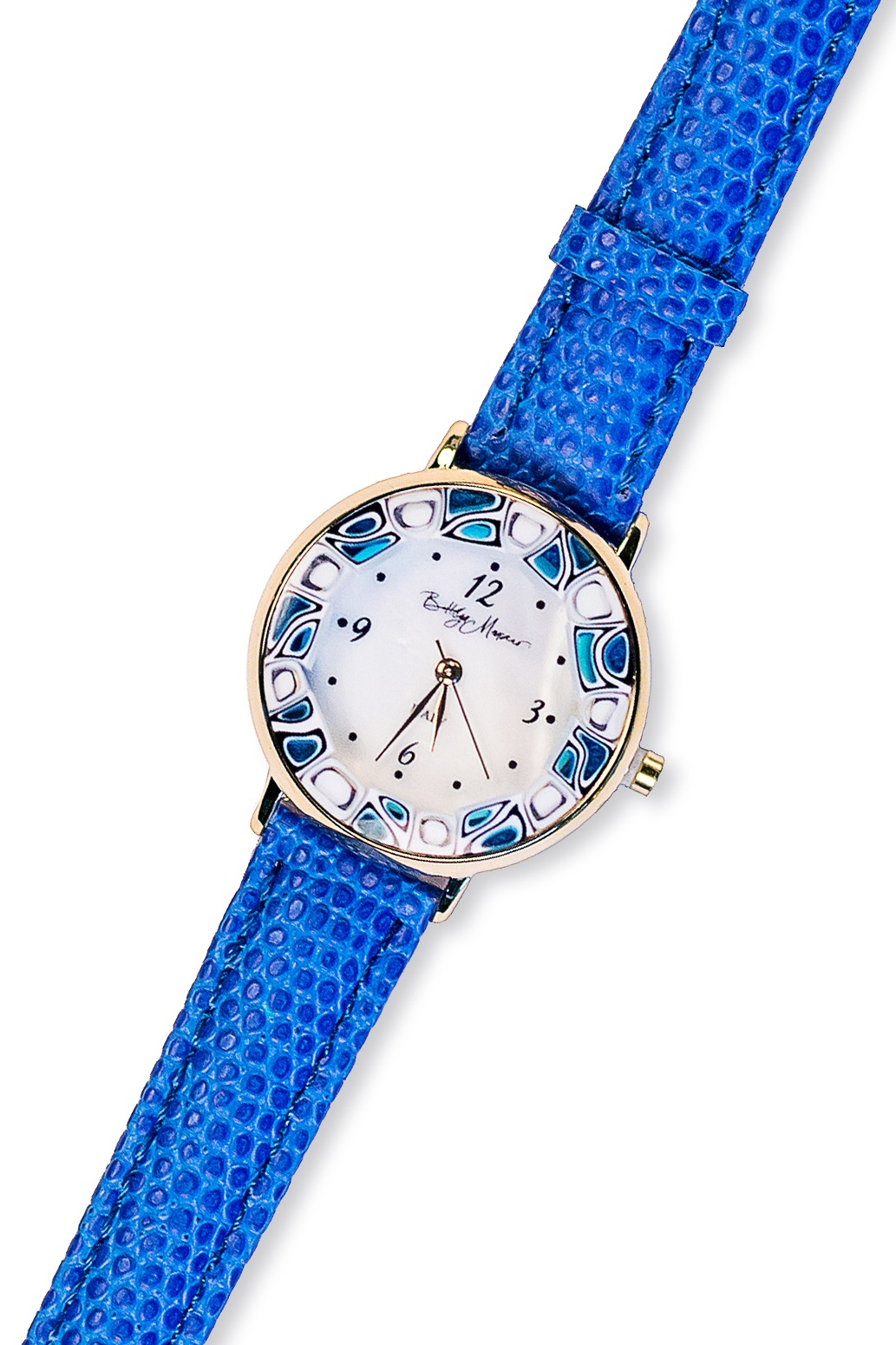 Часы из муранского стекла наручные на кожаном ремешке