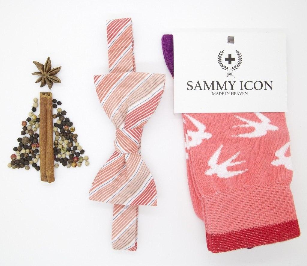 Стильный подарочный набор носков и бабочки розового цвета