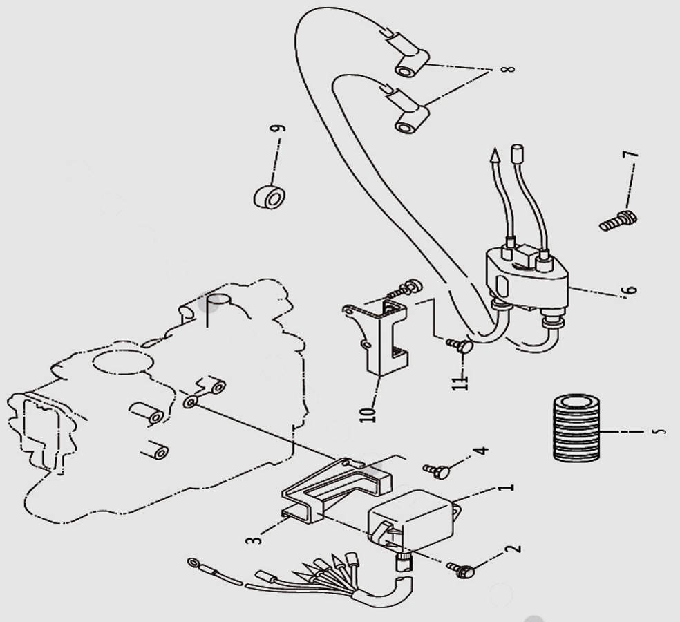 Запчасти электрической системы для лодочного мотора T9.8 Sea-PRO
