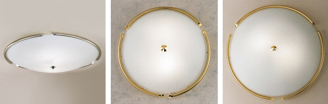Каталог австрийской компании Kolarz также включает огромную серию светильников-тарелок, пригодных для установки на стену или потолок. Коллекция CONCORDE выполнена в стиле минимализм. Каркас светильника изготавливается из высокопрочного сплава стали, неподверженного коррозии и деформации. Тонкий, хромированный или окрашенный 24-каратным золотом стержень поддерживает полукруглый изогнутый плафон из матового стекла, который комплектуется одиночным источником света.
