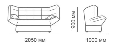 Габаритные размеры дивана-книжки Стелси-3