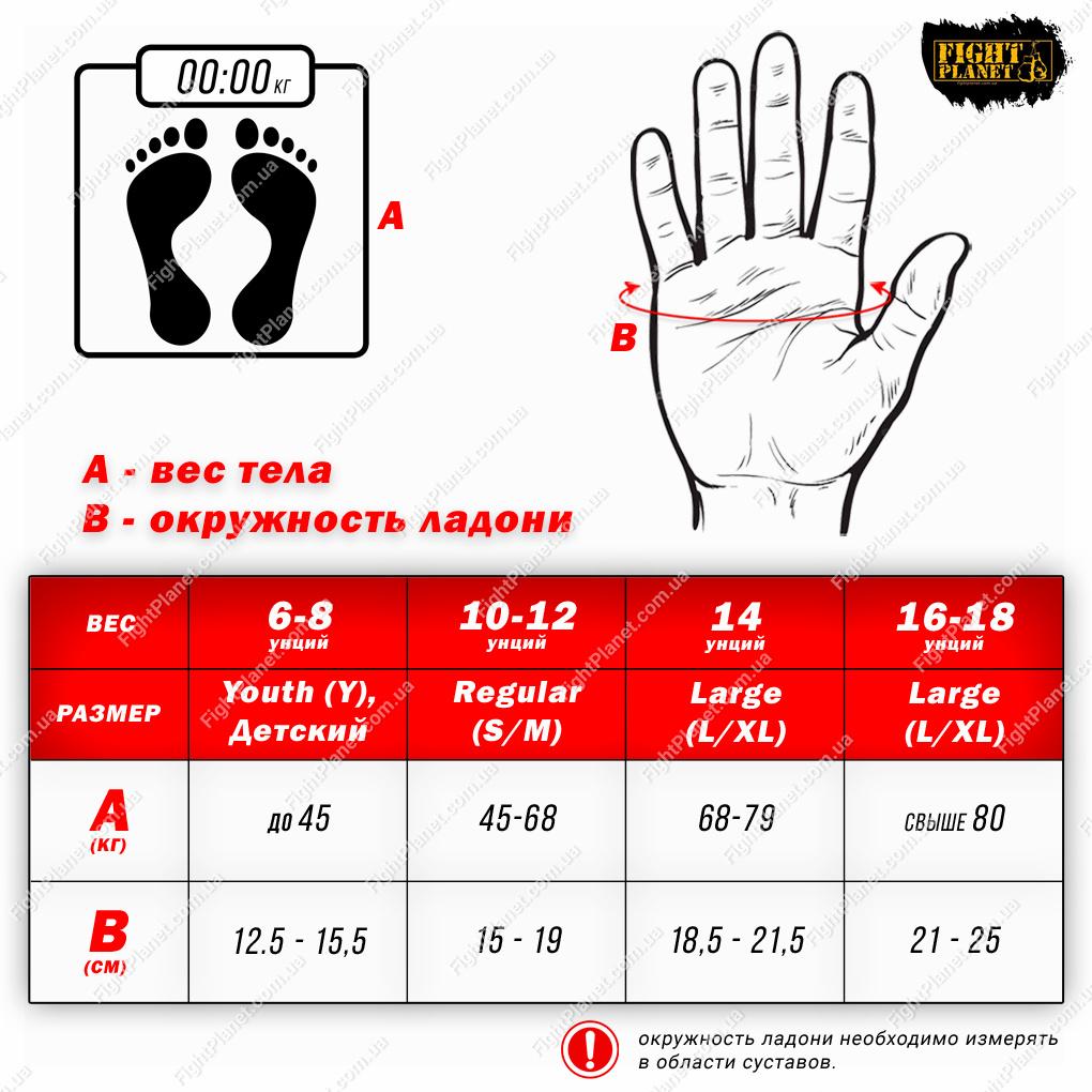 Размерная сетка боксерских перчаток Title Boxing с размерами