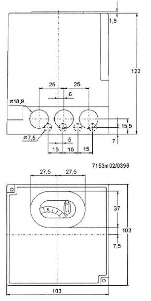 Размеры автомата горения Siemens LAL2.65-110V