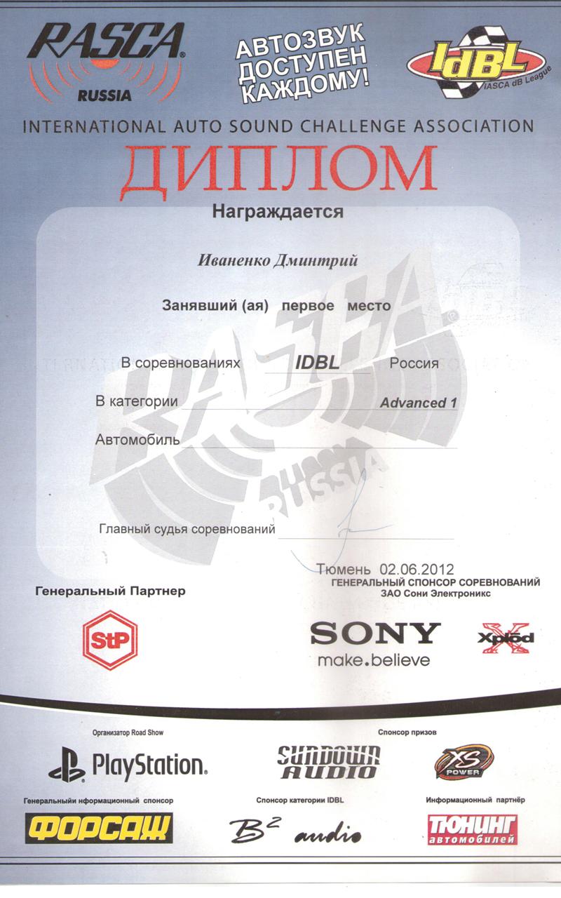 1 место РАСКА Тюмень 2012г.