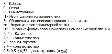 Расшифровка названия кабеля КССПВ, КССПВ-5, КССПВ-5е, КССПВэп, КССПЭфВ