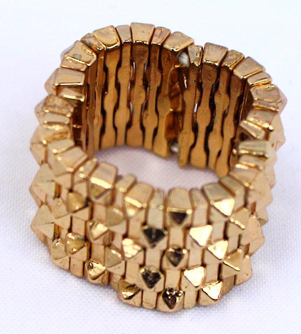 Эластичное женское кольцо золотого цвета (безразмерное) фото купить
