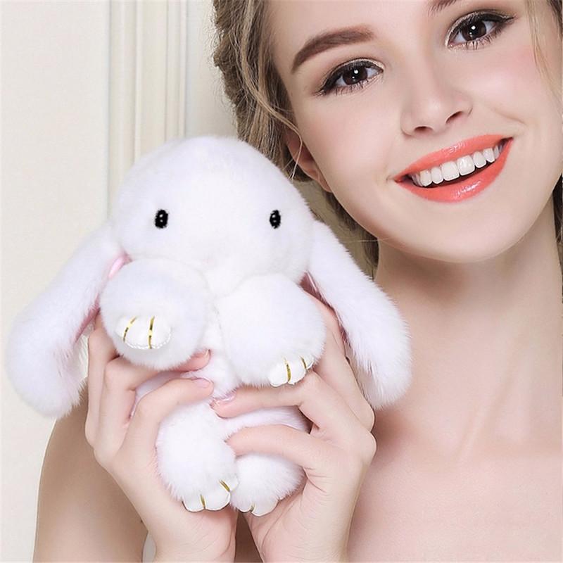 Меховой брелок кролик зайка