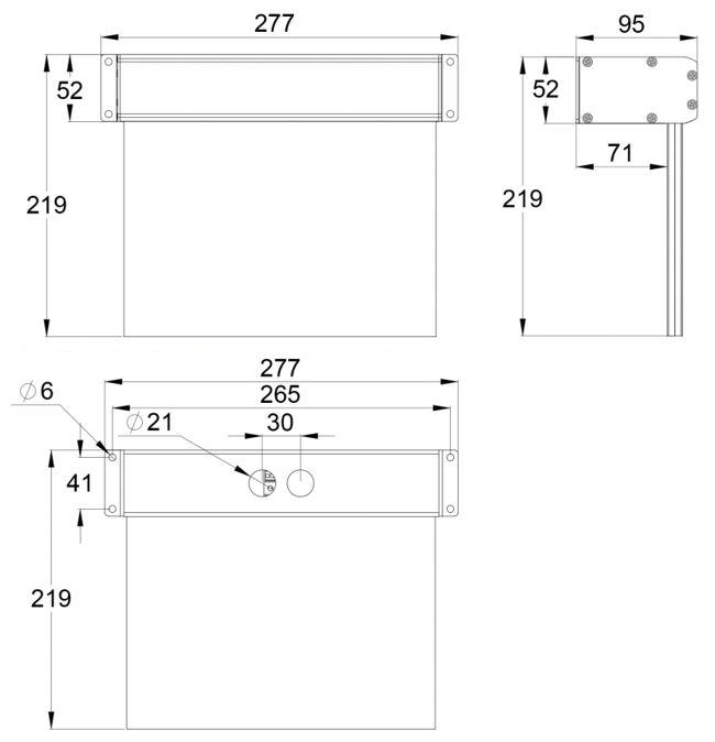Монтажные размеры для эвакуационного светильника выход ESC-10