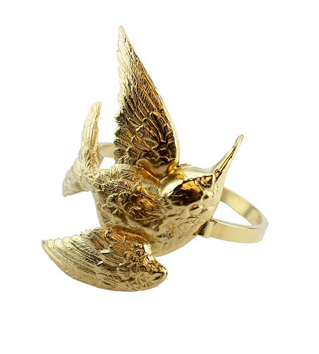 золотой браслет с птицей Single Bird от Beatriz Palacios