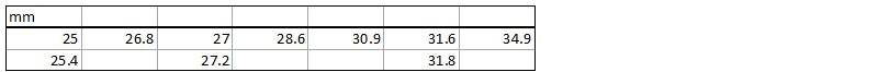 Таблица размеров подседельного штыря