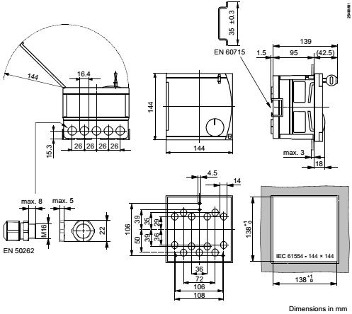 Размеры контроллера Siemens RVL479