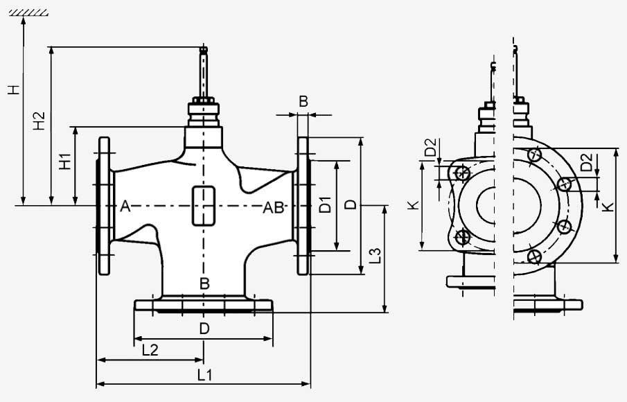 Размеры клапана Siemens VXF22.100-160