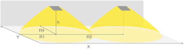 Схема размещения аварийных светильников SOLID для освещения путей эвакуации