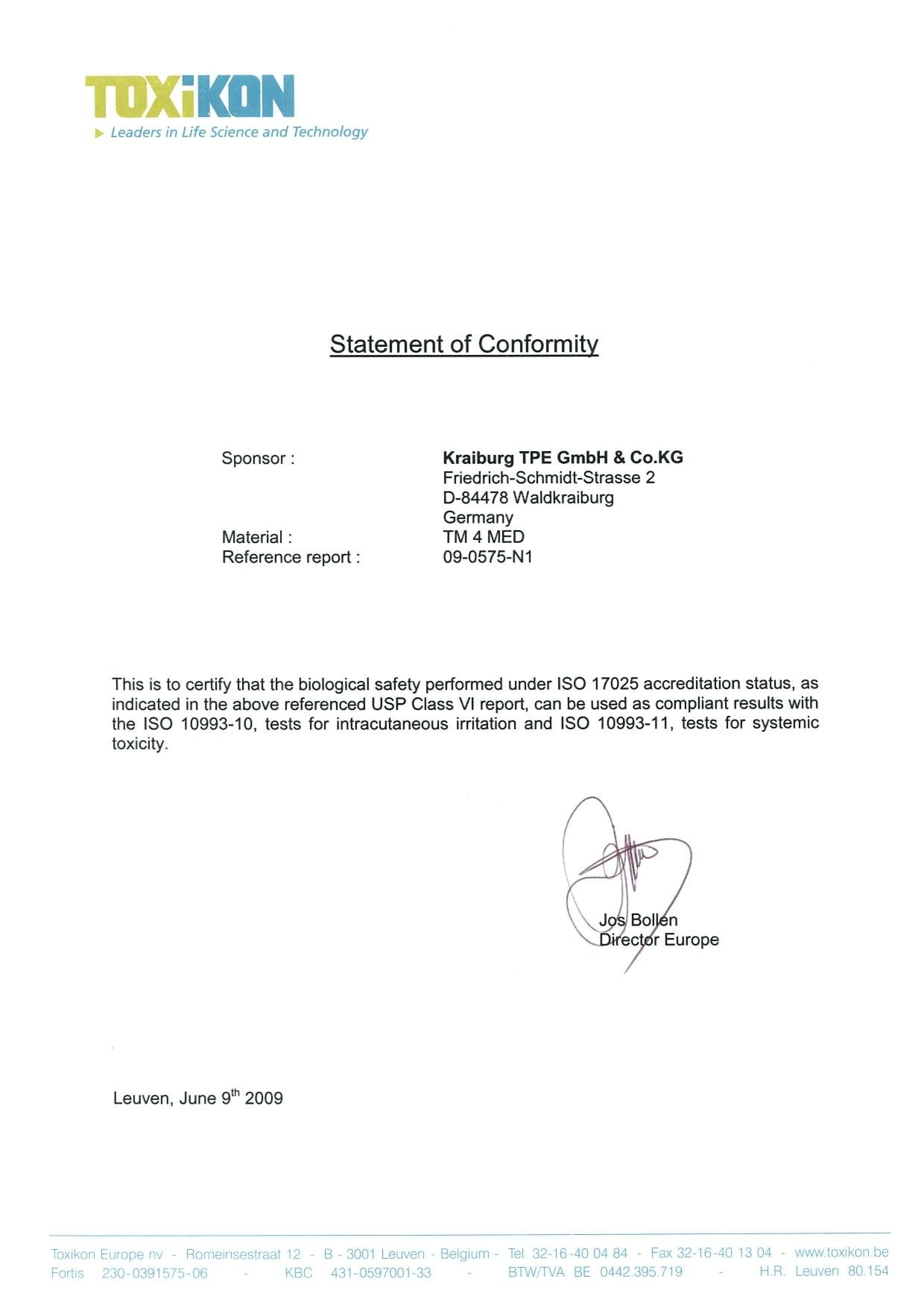 ISO-сертификат, подтверждающий биологическую безопасность материала TPE капов MeLuna (Мелуна)