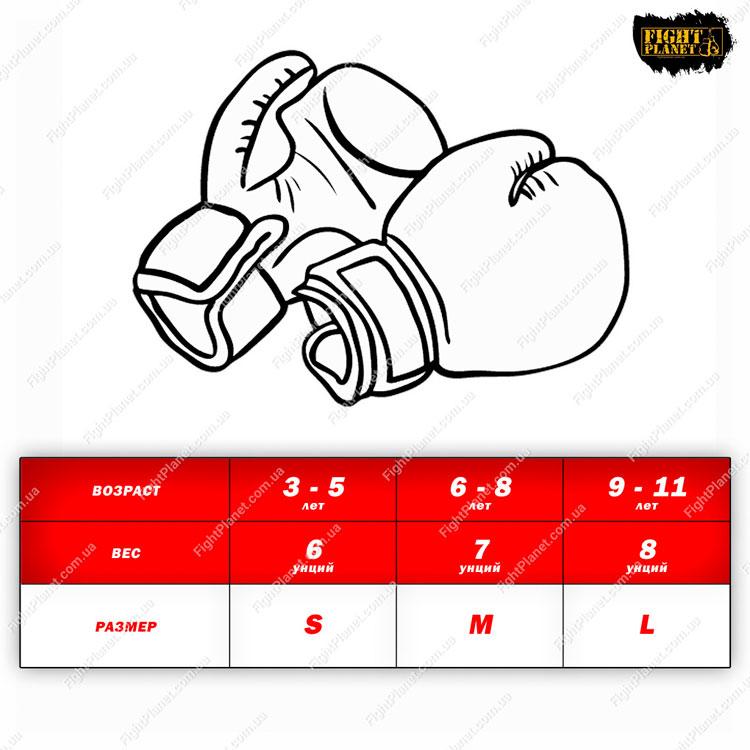 Размерная сетка, таблица детских боксерских перчаток Venum