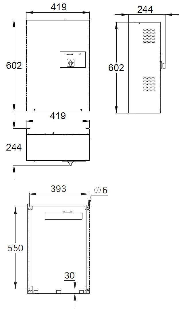 Монтажные размеры блока централизованной системы аварийного низковольтного освещения 24В TKT31/41 Teknoware