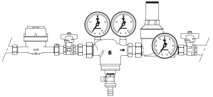 Пример установки самопромывного фильтра FAR