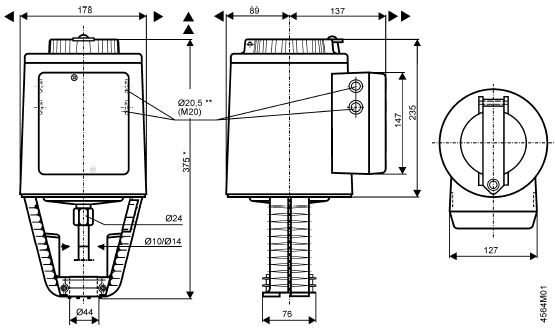 Размеры привода Siemens SKC82.60U