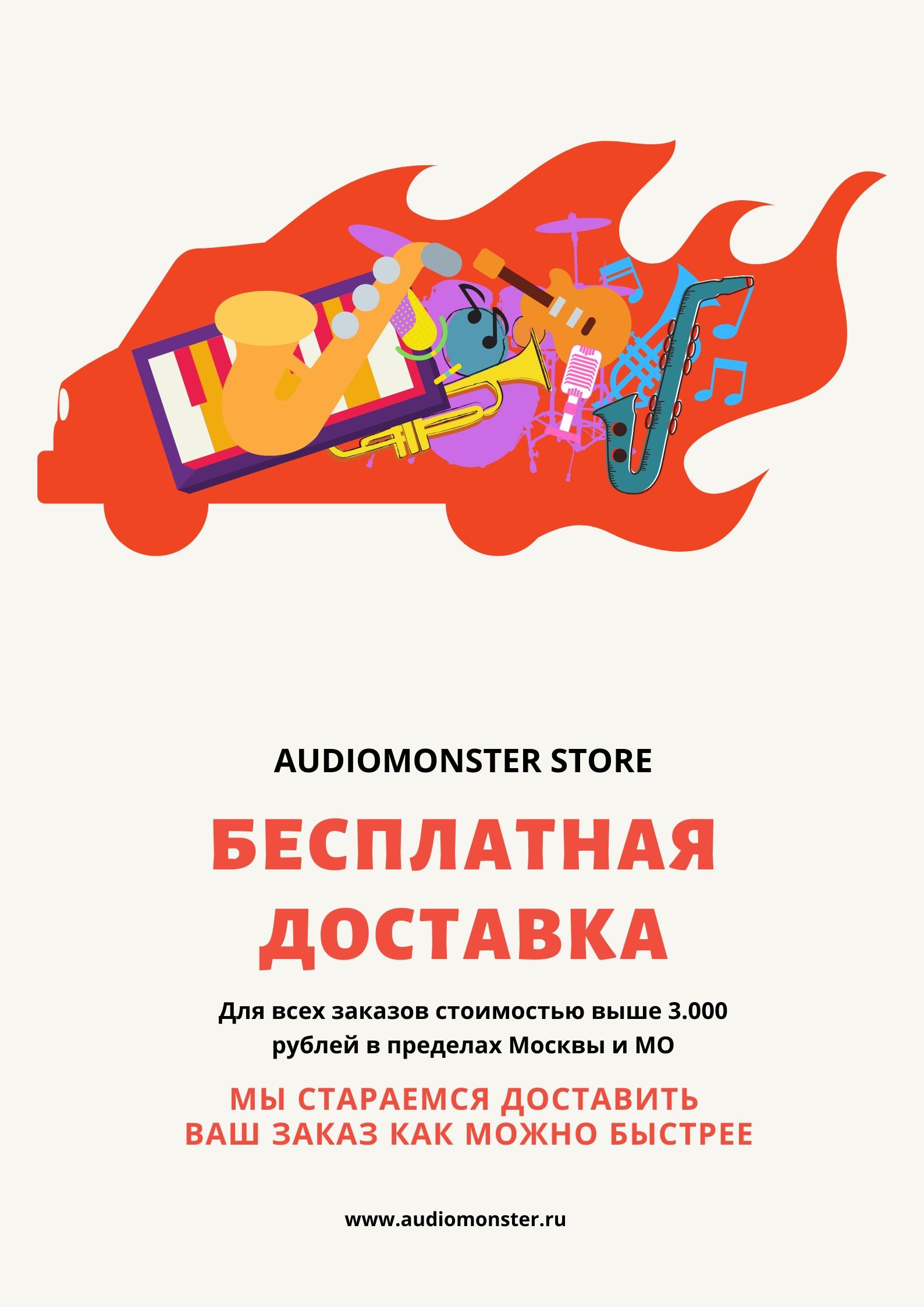 Audiomonster Store предлагает бесплатную доставку для всех заказов стоимостью выше 3 000 рублей, как можно быстрее.