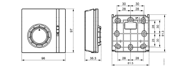 Размеры термостата электромеханического комнатного  Siemens RAA21