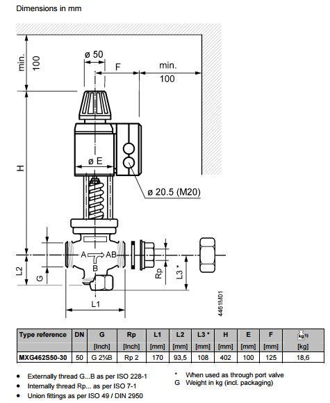 Размеры магнитного клапана Siemens MXG462S50-30