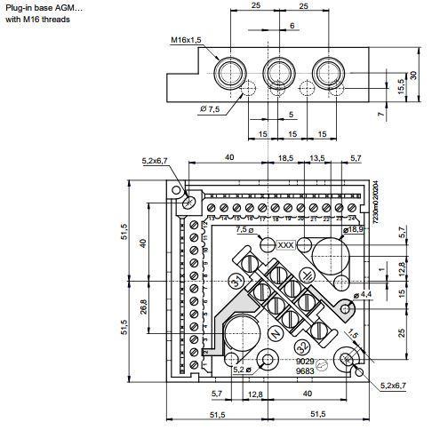 Размеры МОНТАЖНОЙ ПЛАСТИНЫ Siemens AGM14.1