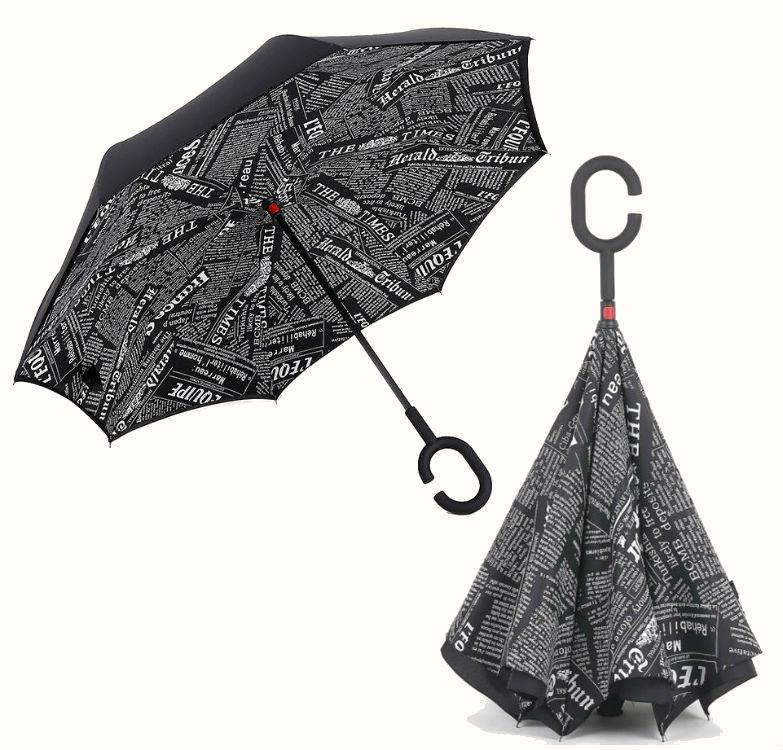 Обратный умный зонтик черный журнал