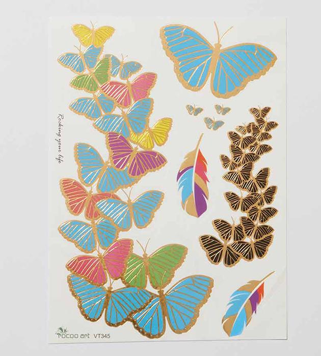 стильный сет разноцветных флэш-татуировок Paints oт Miami Tattoos