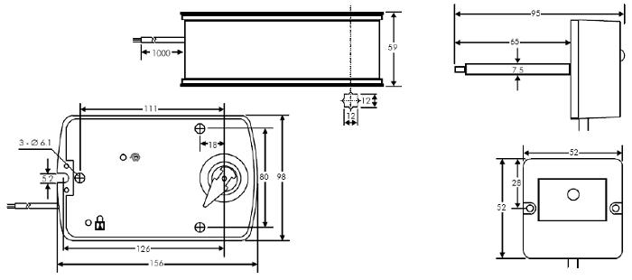 Размеры электропривода Lufberg FS10N220S