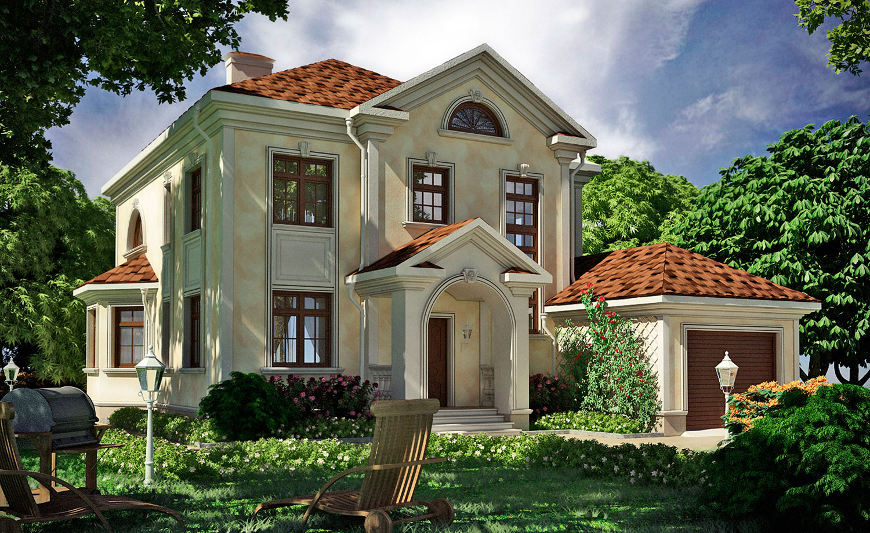 Дом с филёнками на фасаде