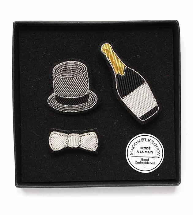 необычный сет из 3 расшитых вручную брошек от Macon&Lesquoy - Max Panoply box