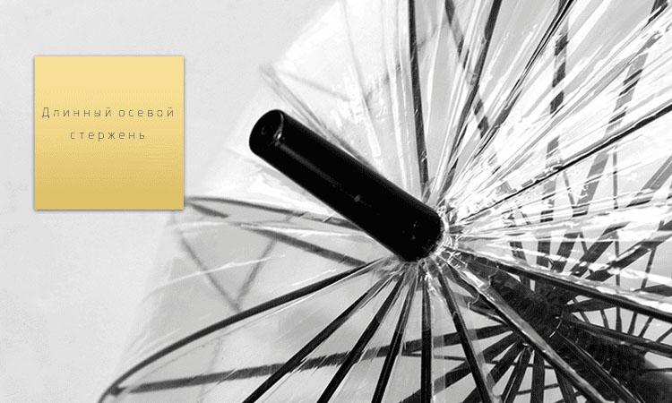 Зонт трость прозрачный с черным кантом 16 спиц | ZC Elegant