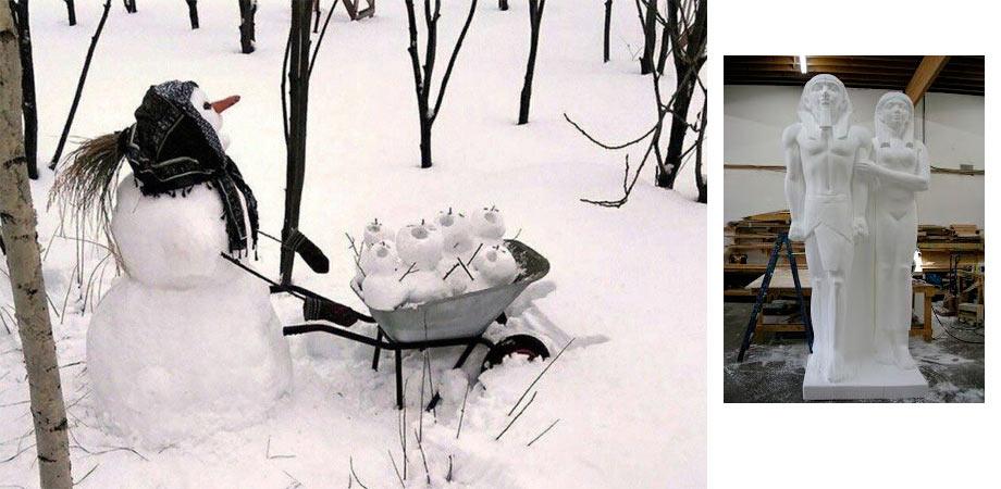 Фигуры снеговик из пенопласта.