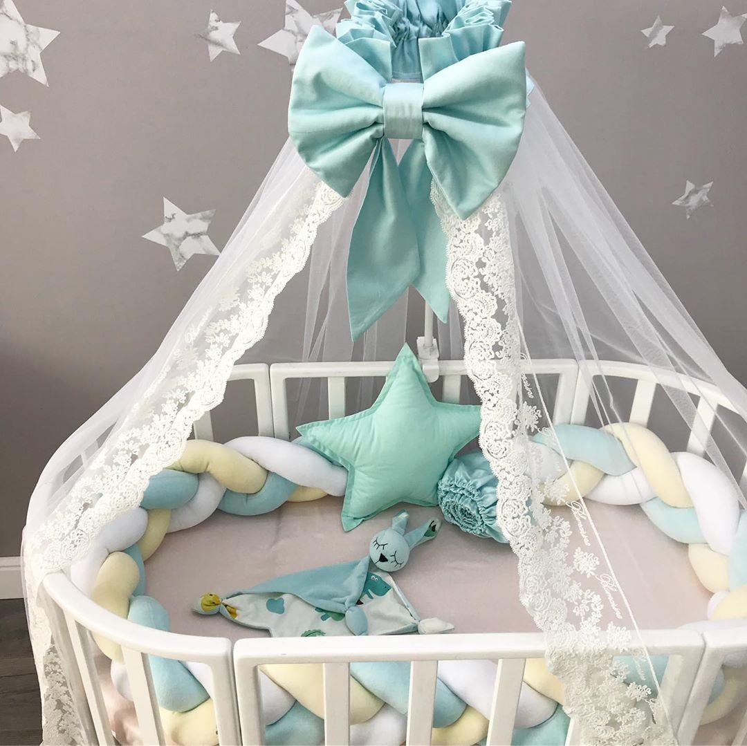 Купить набор постельного белья в овальную кроватку новорожденному