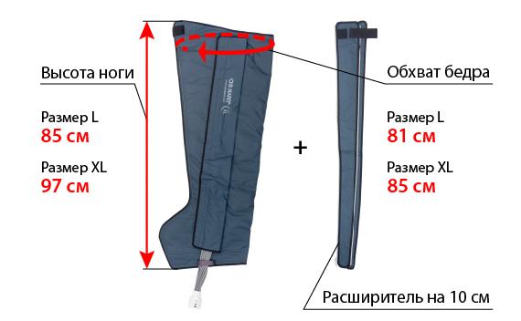 Размеры манжеты ноги c расширителем 10 см