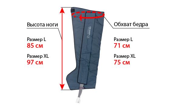 Размеры манжеты ноги L и XL
