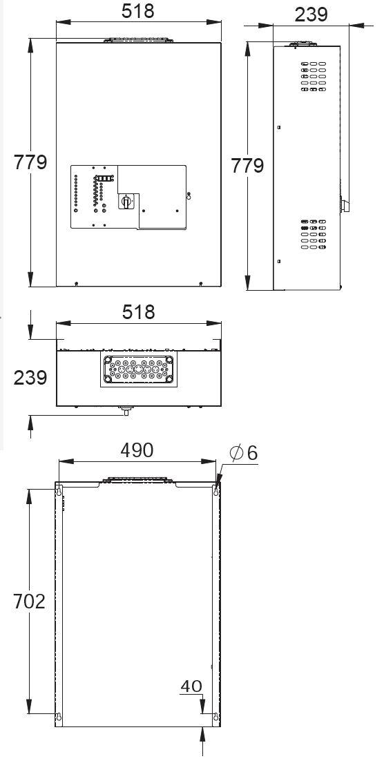 Монтажные размеры адресного блока централизованной системы аварийного освещения TKT65C Teknoware