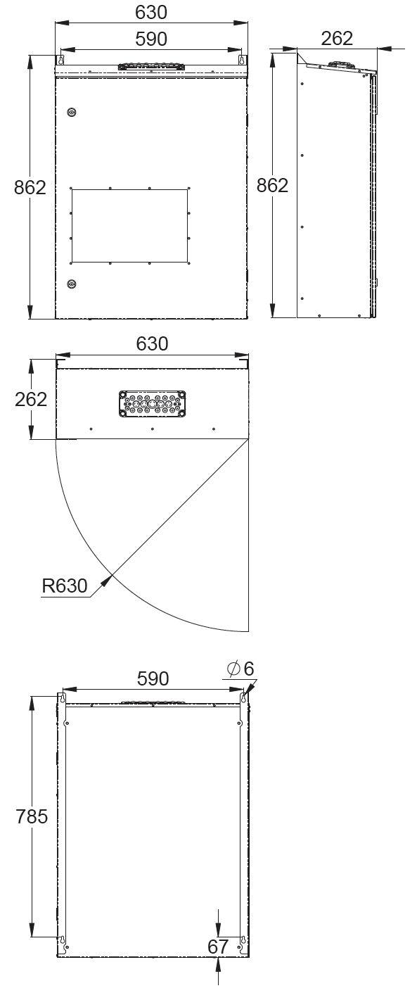 Монтажные размеры адресного блока централизованной системы аварийного освещения TKT65C Teknoware с открывающейся передней дверцей