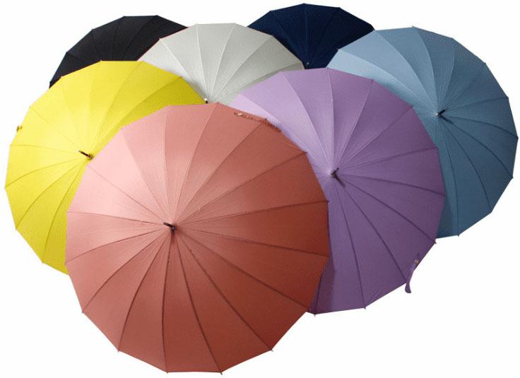 Зонт трость розовый с бамбуковой ручкой   ZC bamboo umbrella handle