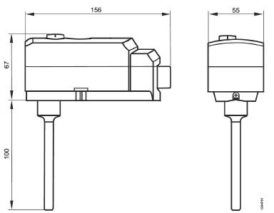 Размеры ограничивающегося термостата Siemens RAK-ST.1600MP