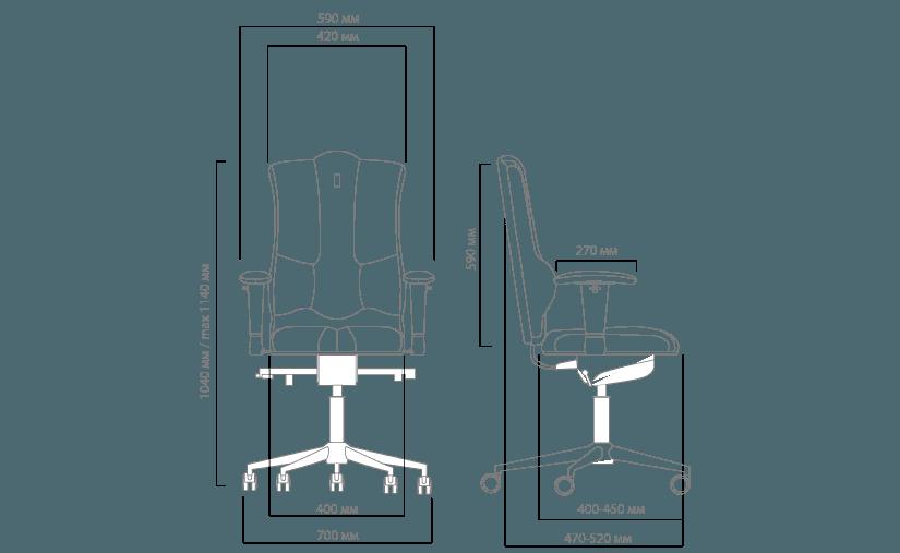 Габариты кресла KULIK SYSTEM ELEGANCE без подголовника