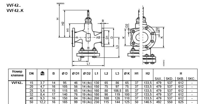 Размеры клапана регулирующего Siemens VVF42.50-40