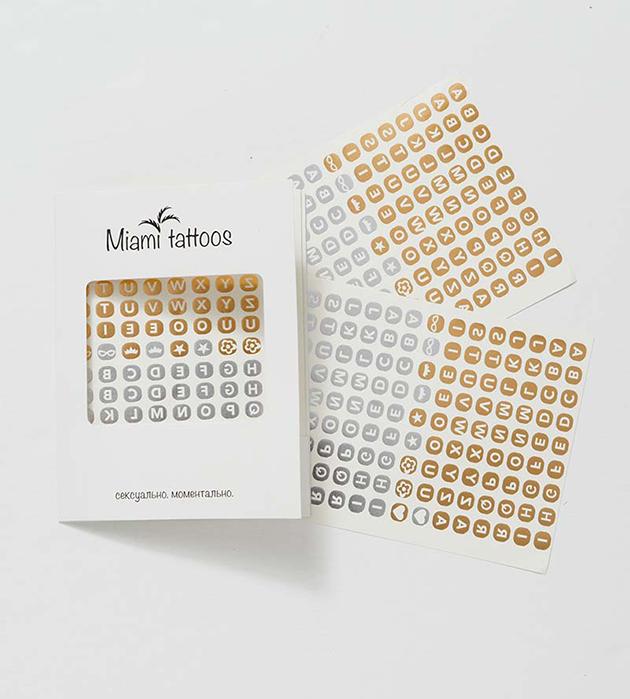 комплект оригинальных временных татуировок от Miami Tattoos - ABC
