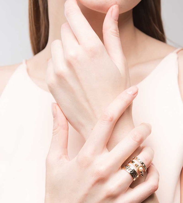 необычное тройное кольцо от итальянского бренда  Maria Francesca Pepe - Life Triple Band ring