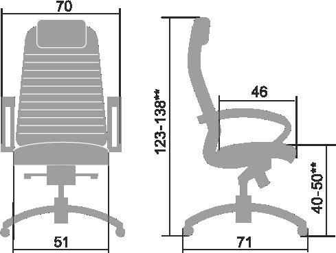 Размеры кресла Samurai KL-1.03