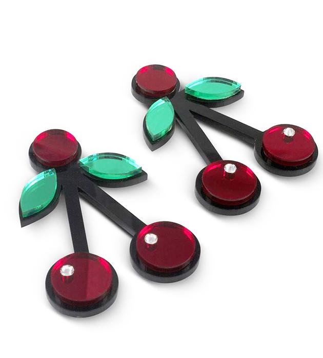 красно-зелёные серьги Red Cherry oт Jennifer Loiselle