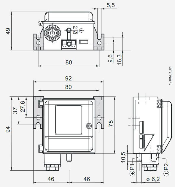 Размеры датчика Siemens QBM2030-5