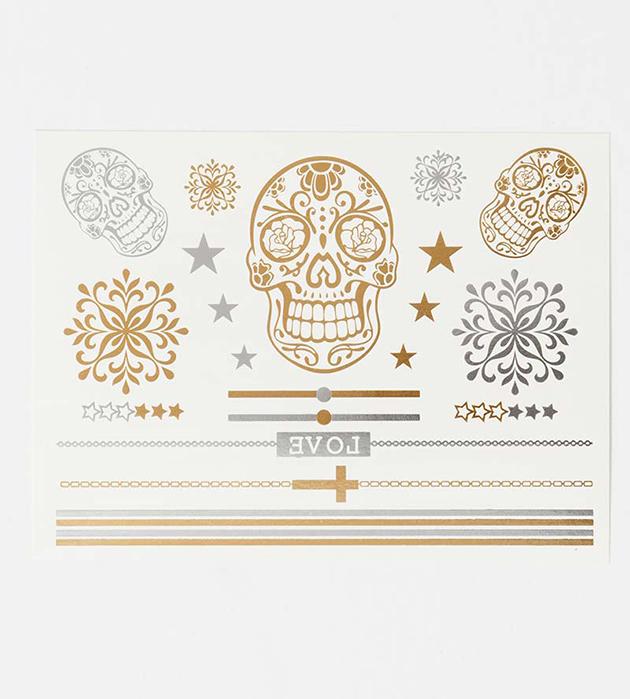 комплект временных серебристо-золотистых флэш-татуировок Hard&Heavy от Miami Tattoos